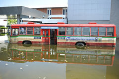 A Flooded Bus at a Bus Stop at a Bangkok Airport Royalty Free Stock Photo