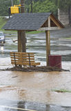 Flooded Bus Stop Royalty Free Stock Photography