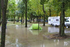 Flooded campground Stock Photos