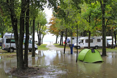 Flooded campground Royalty Free Stock Photography