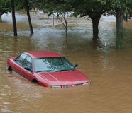 Flooded car. A car lost to severe flooding after Hurricane Irene Stock Photo