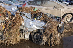 Flooded car. Car destroyed after the precipizazioni and the flooding of the rivers Ferreggiano and Bisagno in Genoa on November 4, 2011, which resulted in the stock photography