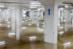 Flooded Car Garage Numbered Columns Stock Image