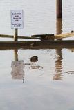 Flooded car park Stock Photo