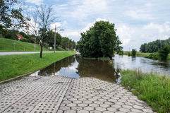 Flooded car park by Radunia river in Gdansk. Stock Photography