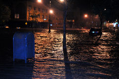 Flooded cars, caused by Hurricane Sandy. BROOKLYN, NY - OCTOBER 29: Flooded cars, caused by Hurricane Sandy, are seen on October 29, 2012, in the corner of Royalty Free Stock Photos