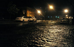 Flooded cars, caused by Hurricane Sandy. BROOKLYN, NY - OCTOBER 29: Flooded cars, caused by Hurricane Sandy, are seen on October 29, 2012, in the corner of Stock Photo