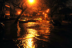 Flooded cars, caused by Hurricane Sandy. BROOKLYN, NY - OCTOBER 29: Flooded cars, caused by Hurricane Sandy, are seen on October 29, 2012, in the corner of Royalty Free Stock Image