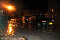 Flooded cars, caused by Hurricane Sandy, NY. BROOKLYN, NY - OCTOBER 29: Flooded cars, caused by Hurricane Sandy, are seen on October 29, 2012, in the corner of Royalty Free Stock Photos