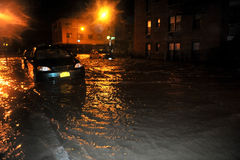 Flooded cars, caused by Hurricane Sandy, NY. BROOKLYN, NY - OCTOBER 29: Flooded cars, caused by Hurricane Sandy, are seen on October 29, 2012, in the corner of Stock Images