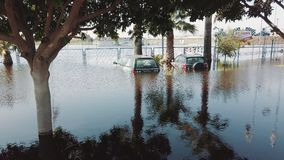 Flooded Cars in the Parking Road. Deep Waters. Flooding Nature After Heavy Rainy Day. Global Warming. stock footage