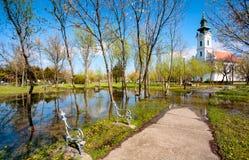 Flooded Church Park Stock Photo