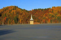 Flooded church in Rosia Montana. Natural disaster Royalty Free Stock Photo