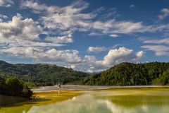 Flooded church in toxic polluted lake due to copper mining, Geamana Village. Sesii Valley, Romania Royalty Free Stock Images