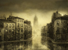 Flooded City. A flooded old city. Tempera on paper & processing Stock Photography
