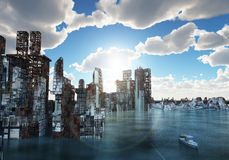 Flooded city Royalty Free Stock Images