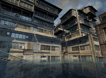 Flooded City. Digital render of an abandoned city half submerged in flood waters Stock Photography