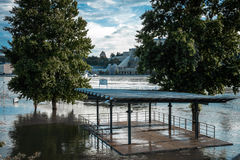 Flooded city of hungary Stock Photography