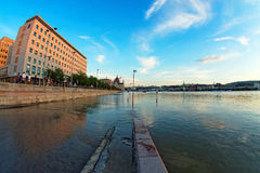 Flooded city of hungary Stock Image