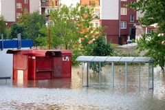 Flooded city. Of Wroclaw in 2010 stock photo
