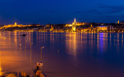 Flooded embankment in Budapest Royalty Free Stock Photography