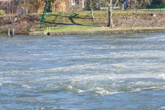 Flooded embankment in heavy rain Royalty Free Stock Images