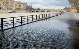 Flooded embankments in Paris Stock Images
