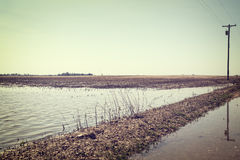 Flooded farmland Royalty Free Stock Photography
