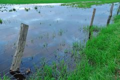 Flooded fencing Royalty Free Stock Photography