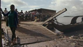 Flooded, Ferry boat, mekong,  cambodia, southeast  stock video footage