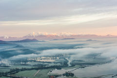 Flooded fields. With morning mists Royalty Free Stock Images