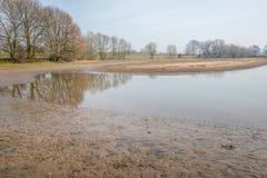 Flooded floodplain at a Dutch river Royalty Free Stock Photo