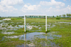 Flooded football field Royalty Free Stock Image