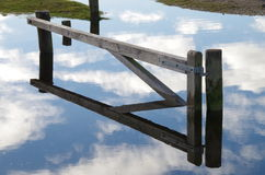Flooded forest gate reflection Royalty Free Stock Photography