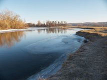 Flooded frozen river Stock Image
