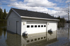 Flooded Garage. In New Brunswick where most of new brunswick was underwater in 2008 because of all the snow melting to fast, New brunswick/Quebec border, Canada Royalty Free Stock Photo