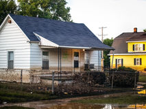Flooded Home Exterior. Home in Coffeyville, Kansas after a devastating flood and subsequent oil spill in 2007 stock photos