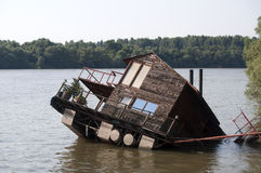 Flooded home. In the river Danube in Belgrade stock images