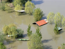 FLOODED HOMES. Flood damaged property. Danube river royalty free stock photos