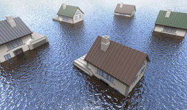 Flooded homes. 3D genered image Stock Photos