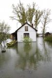 Flooded homes. Flood damaged property stock image