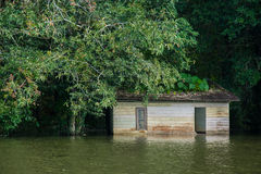 Flooded homes. Building in Thailand royalty free stock photography