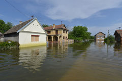FLOODED HOMES. Flood damaged property . Natural disasters (Serbia 2014 stock photos