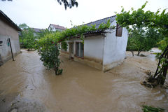 FLOODED HOMES. Flood damaged property . Serbia 2014 royalty free stock image