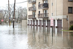 Flooded Homes Outdoors. Flooded homes in the Chicago area on a cloudy day royalty free stock photography