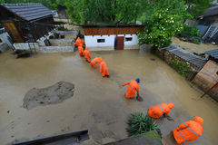 FLOODED HOMES. Rescue teams - Flood damaged property royalty free stock image