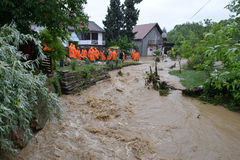 FLOODED HOMES. Rescue teams - Flood damaged property . Serbia royalty free stock photography