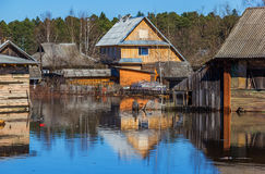 Flooded homes. Spring flood. Maksatikha 2013. Volchina river overflowed. Spring flood. Tver region royalty free stock photography