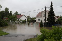 Flooded house. In north-east of Czech republic. Name of the village - Detmarovice Royalty Free Stock Image