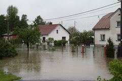 Flooded house. In north-east of Czech republic. Name of the village - Detmarovice Stock Images